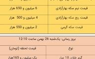 قیمت طلا و سکه، امروز ۲۶ بهمن ۹۹