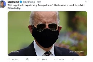 """ترامپ  ماسک زدن """"جو بایدن """" نامزد احتمالی حزب دموکرات برای انتخابات ریاست جمهوری 2020 آمریکا را مورد تمسخر قرار داده"""