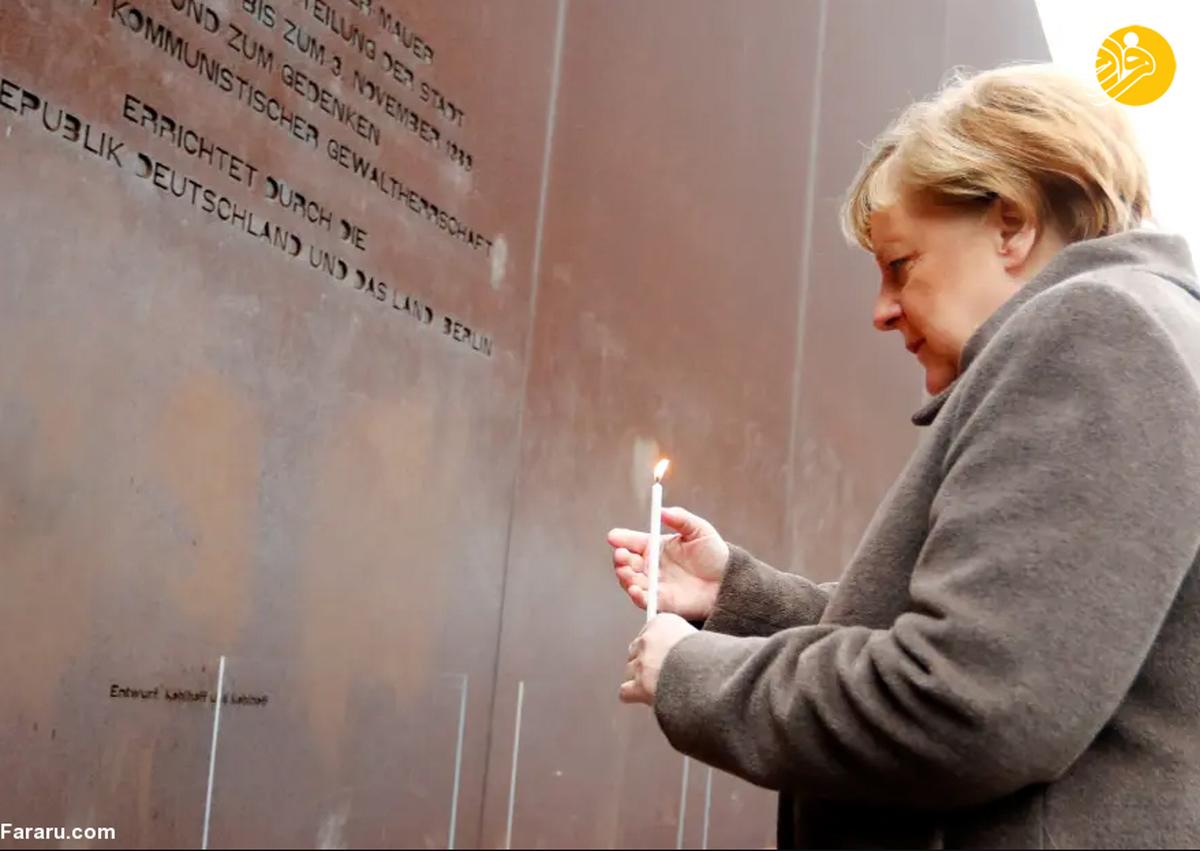 آنگلا مرکل در یادبود سالگرد فروپاشی دیوار برلین