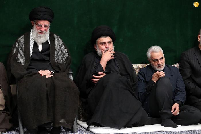 تصویر| مقتدی صدر و سردار سلیمانی در عزاداری بیت رهبری
