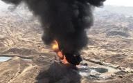 دکل نفتی در آتش قطعه چینی سوخت