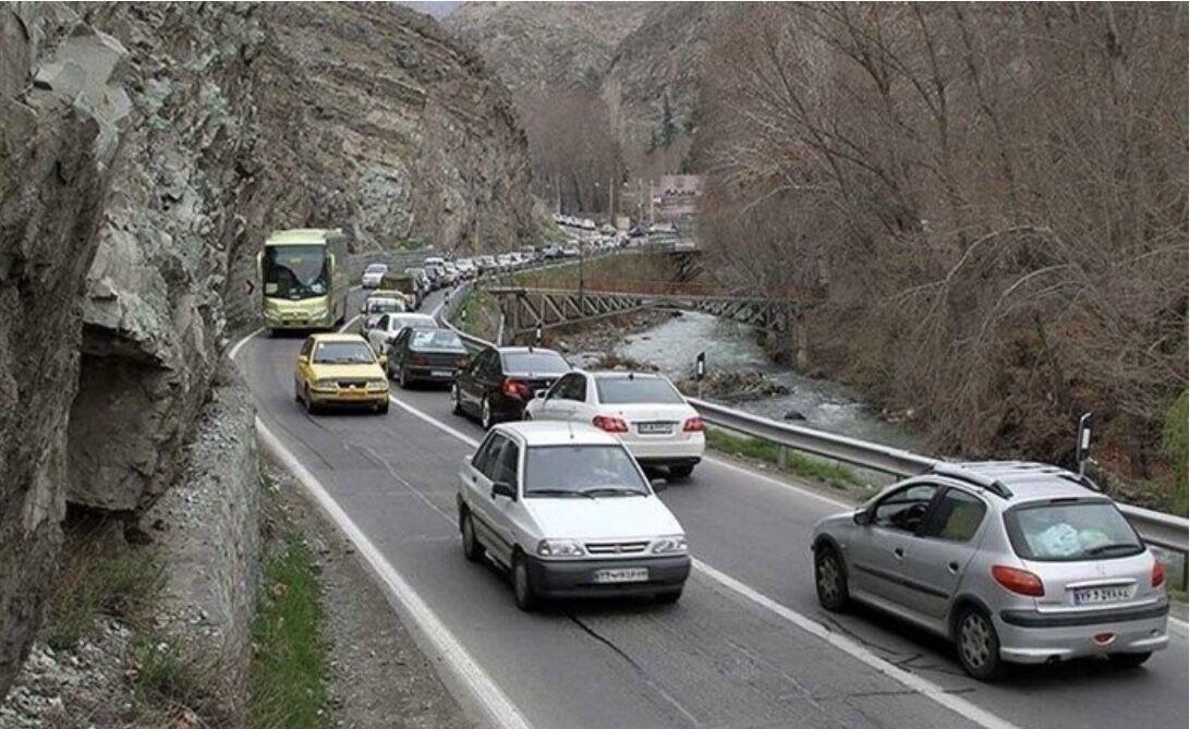 وضعیت تردد در جاده های محورهای چالوس، هراز