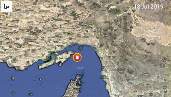 موقعیت نفتکش توقیف شده توسط سپاه روی نقشه
