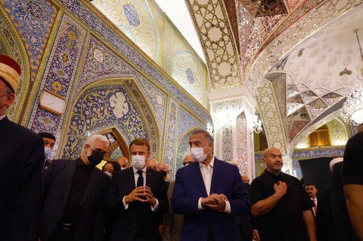 ماکرون به حرمین عسکریین رفت | سفر رئیس جمهور فرانسه به اربیل پس از اجلاس بغداد