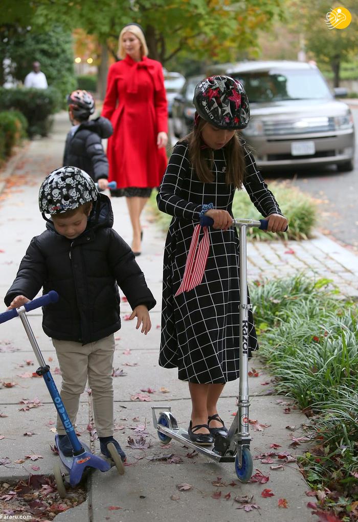 تفریح ایوانکا ترامپ همراه فرزندان اسکوترسوارش