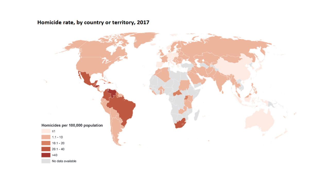 نقشه وضعیت آماری قتل های خان ادگی در جهان
