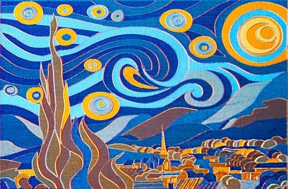 """خلق نقاشی """"شب پرستاره"""" ونگوگ با استفاده از لیزر"""