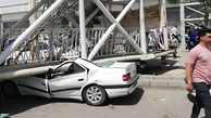 سقوط عجیب پل عابر پیاده در تهران+تصاویر| پل عابر پیاده هوایی در بزرگراه سعیدی شهرستان بهارستان سقوط کرد
