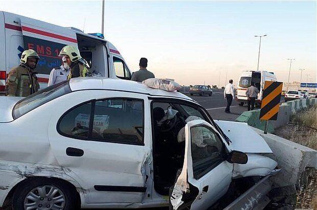 خواب آلودگی راننده باعث تصادف زنجیرهای در بلوار ایران خودرو