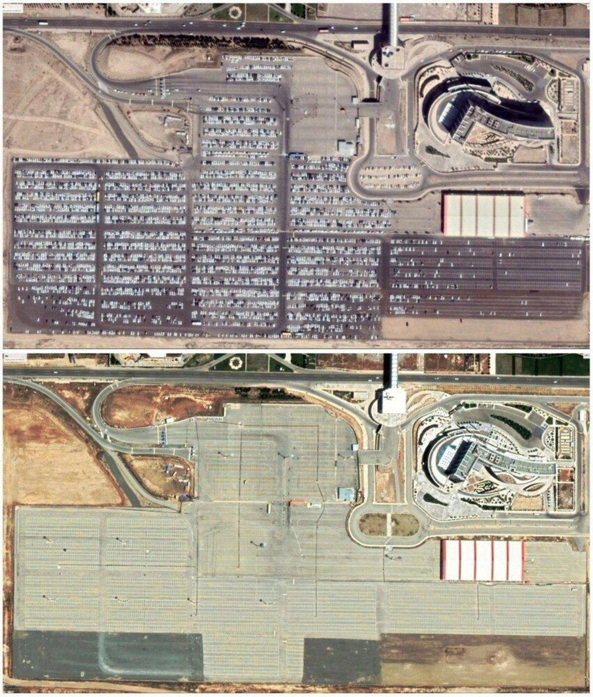 کرونا |   پارکینگ فرودگاه امام، قبل و بعد از کرونا+عکس