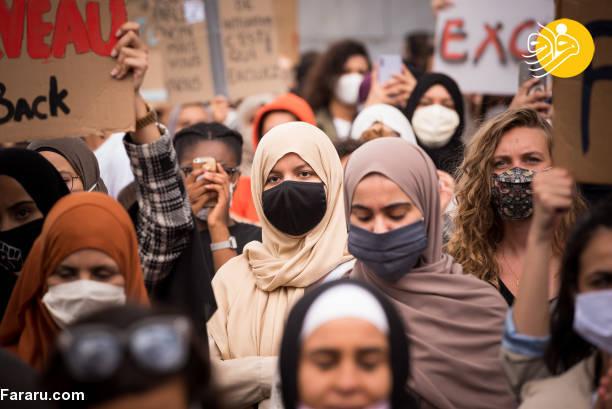 اعتراض در پایتخت بلژیک برای ممنوعیت روسری در مدرسه + عکس
